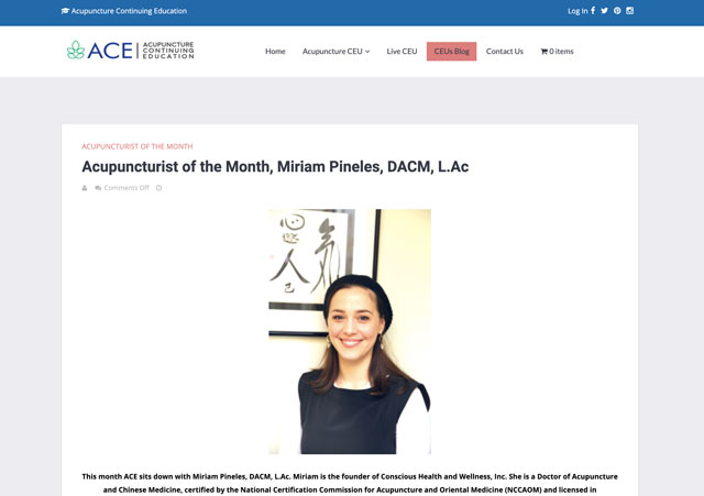 Dr. Miriam Pineles, DACM, L.Ac, Named Acupuncturist of the Month